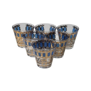 Culver Blue & Gold Highball Glasses - Set of 6