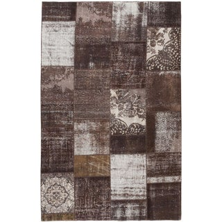 "Vintage Overdyed Patchwork Rug, 6'5"" x 10'"