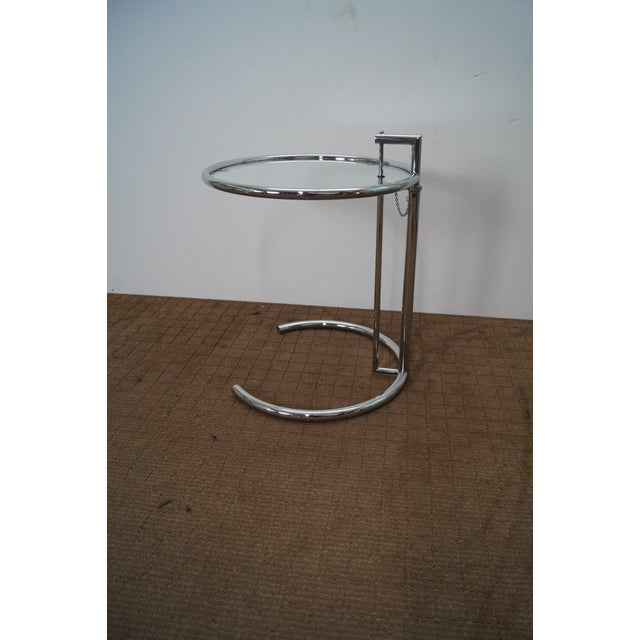 Eileen Gray Adjustable Chrome & Glass Side Table - Image 2 of 10