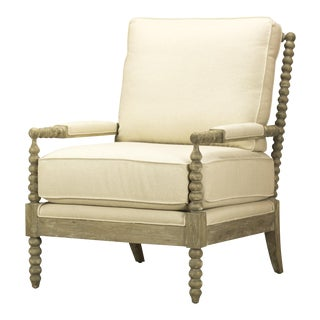Spectra Home Light Wood & Linen Accent Chair