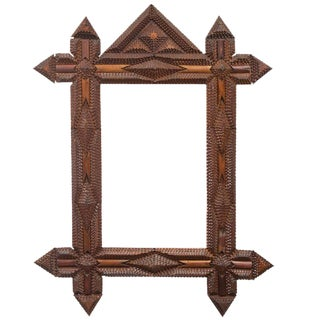 Tramp Art Frame with Original Mirror