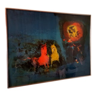 Modernist Dream Scene With Horses Lithograph