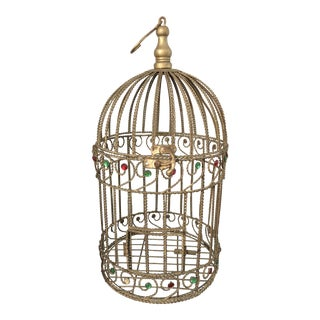 Vintage Braided Wire Jeweled Bird Cage