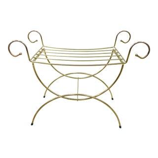 Vintage Hollywood Regency Brass Vanity Bench