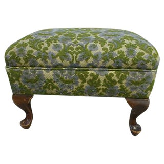 Floral Ottoman with Wooden Legs