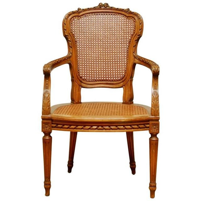 neoclassical louis xvi shield back caned fauteuil chair chairish. Black Bedroom Furniture Sets. Home Design Ideas