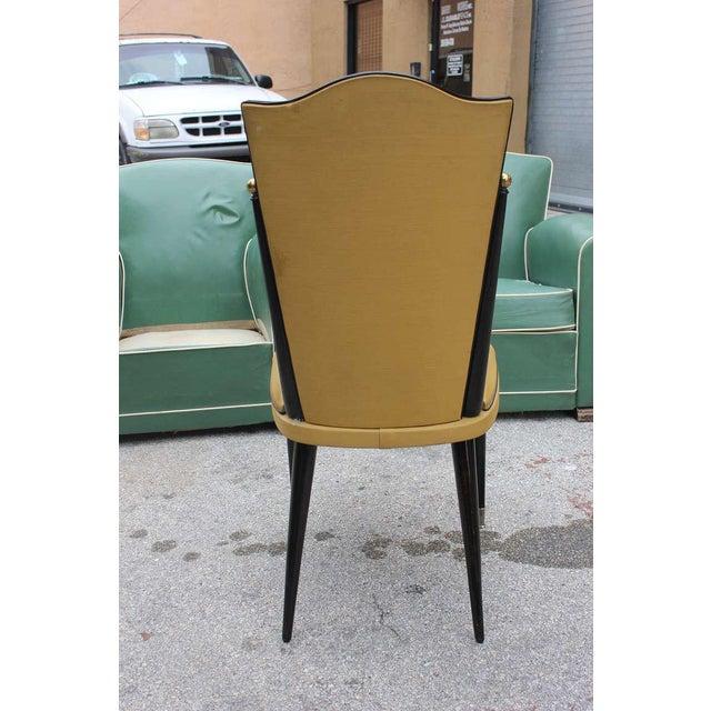 French Art Deco Ebonized Walnut Chairs - Set of 6 - Image 6 of 7