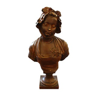 Woman With Bonnet Bronze Bust