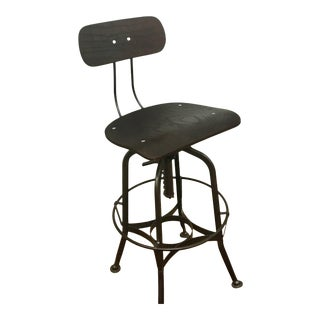 Black Iron Industrial Stool With Wooden Seat