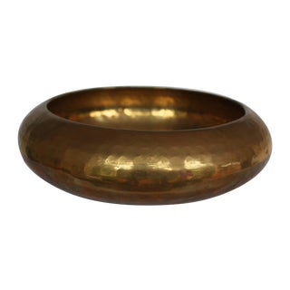 Mid-Century Hammered Brass Bowl
