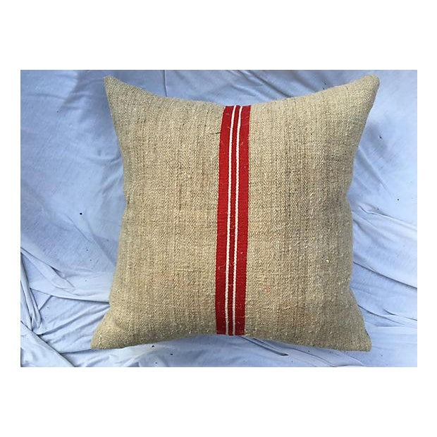 Vintage French Grain Sack Pillows - Set of 3 - Image 5 of 7