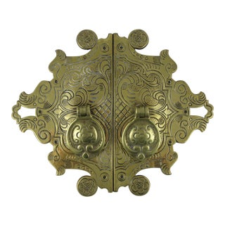 Antique English Brass Asian Style Cabinet Door Pulls - A Pair