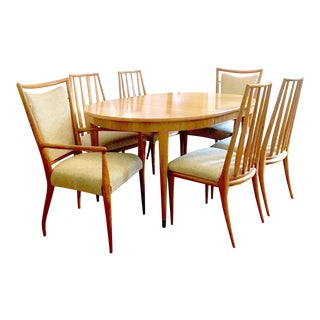 Mid-Century Widdicomb Dining Set- 6 Chairs, 3 Leaves
