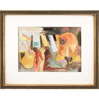 Vintage Figural Abstract Watercolor Painting