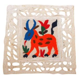 Orange Animal Otomi Embroidered Folk Art