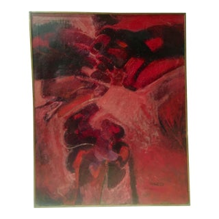 1960's Vintage Red and Pink Abstract Painting