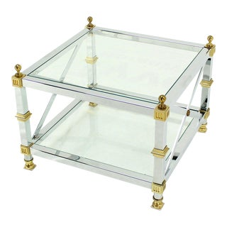 Tow Tier Glass Top Chrome Brass X-Base Square Side or End Table