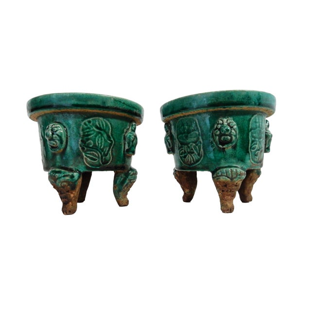 Asian Celadon Ceramic Incense Burners- A Pair - Image 2 of 6