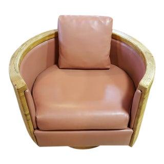 Circular Butcher-Block Swivel Lounge Chair