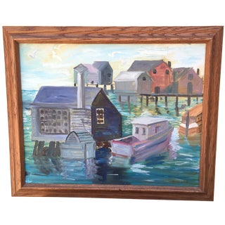 Vintage Kennebunkport, Maine Harbor Oil on Canvas
