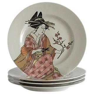 Fitz & Floyd Vintage 1976 Geisha Plates - Set of 4