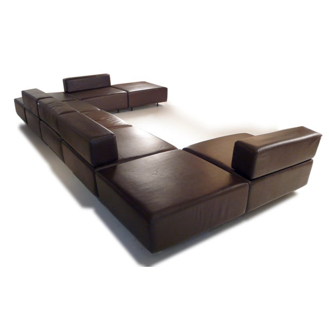 Harvey Probber Chocolate Brown Leather 'Cubo' Sectional Sofa - Image 2 of 9