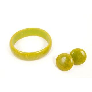 Vintage Green Marbled Bakelite Jewelry Set
