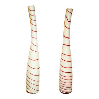 Art Glass Murano Glass White & Red Vases - A Pair