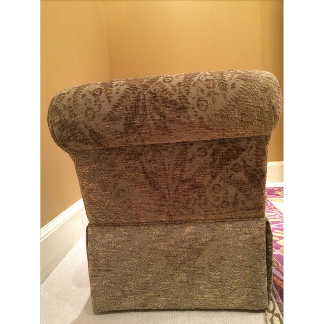 Velvet Damask Slipper Chairs - A Pair - Image 5 of 7