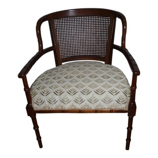 Mid-Century Bamboo Barrel Caned-Back Chair