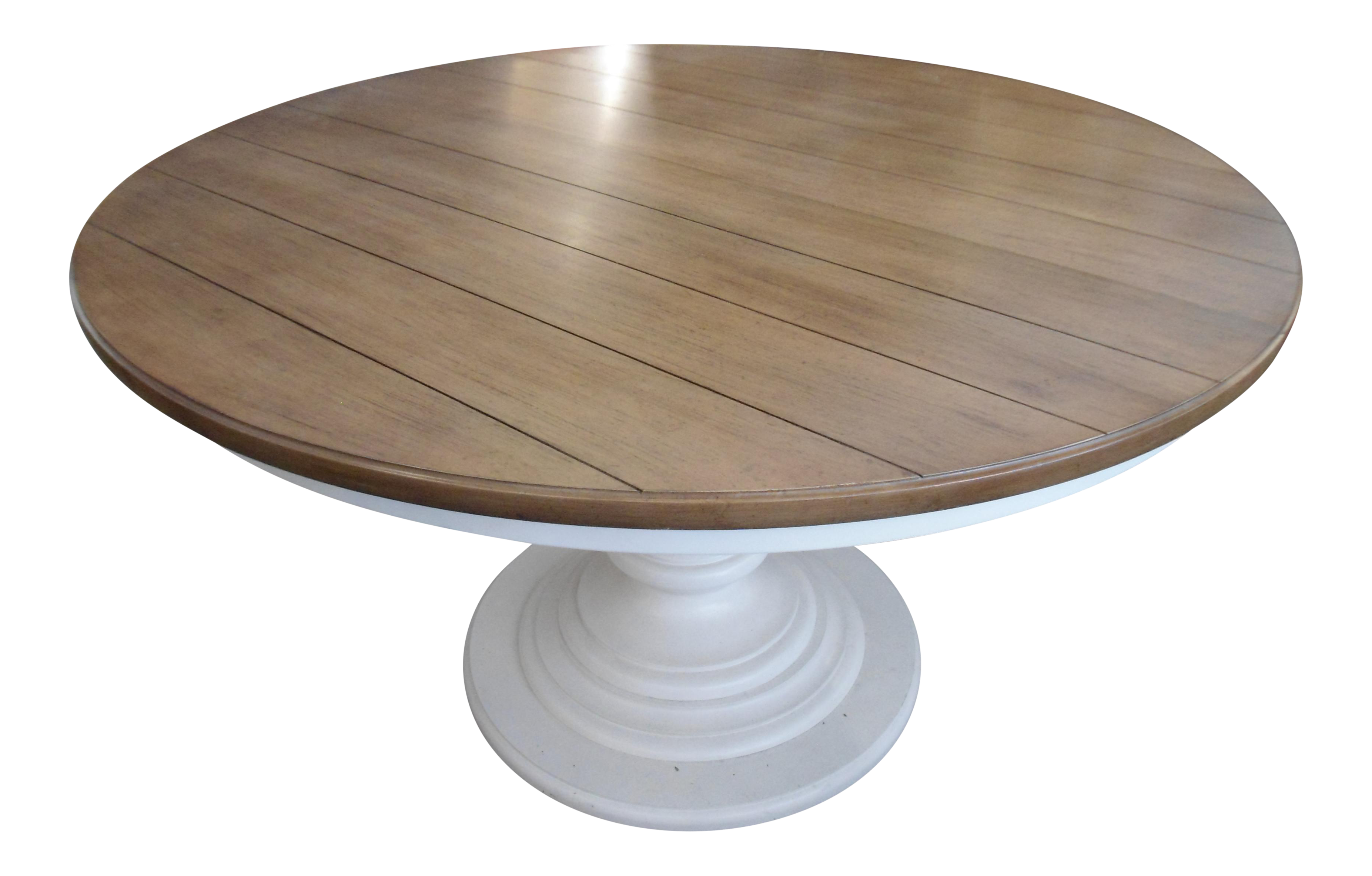 Wood Top amp White Pedestal Base Round Kitchen Table Chairish : 55c9dca9 7bc8 4822 a2e5 abb3970754efaspectfitampwidth640ampheight640 from www.chairish.com size 640 x 640 jpeg 23kB