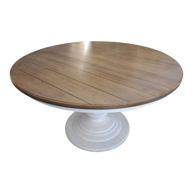 Wood top white pedestal base round kitchen table chairish for Round pedestal kitchen table