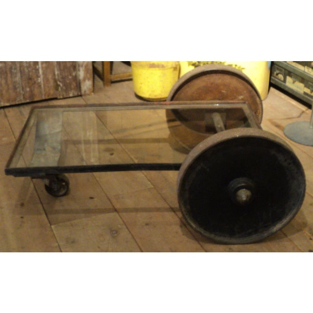 Antique Industrial Metal Glass Table on Wheels - Image 3 of 8