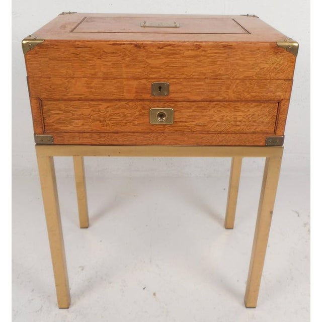 Mid-Century Modern Single Drawer Campaign Style Stand - Image 2 of 11