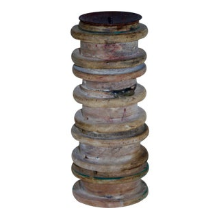 Industrial Wood Spindle Candle Holder