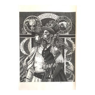 Black & White Etching, Black Crow Print by D. Bell