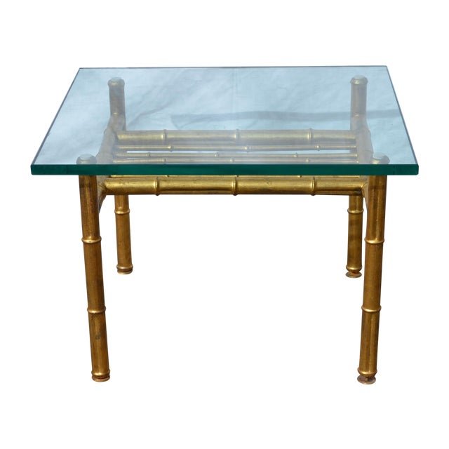 Brass Faux Bamboo Coffee Table: Gold Faux Bamboo Metal Coffee Table