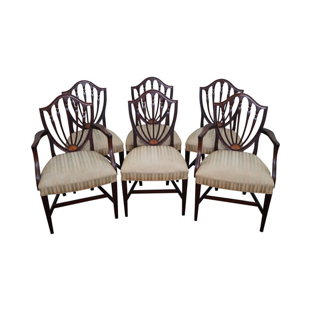 Mahogany Federal Style Inlaid Dining Chairs - 6 - Image 1 of 10