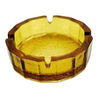 Mid Century Golden Amber Glass Ashtray