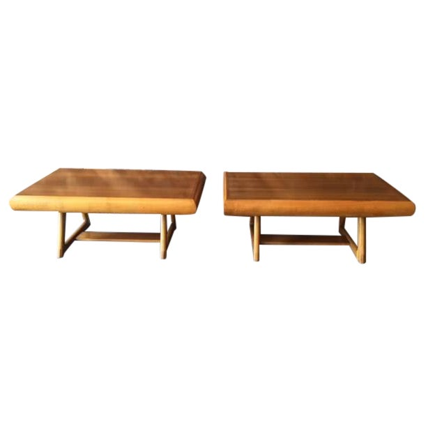 Mid-Century 50's Walnut Maple Side Tables - Image 1 of 5