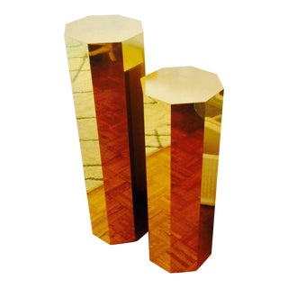 Artisan House Brass Hexagonal Pedestals - A Pair