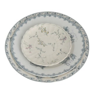 Vintage Blue Floral China Plates - Set of 3