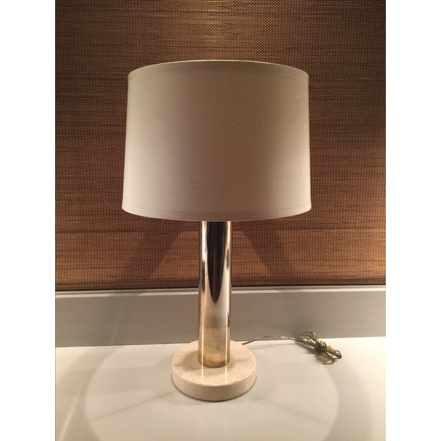 Vintage Modern Brass & Marble Table Lamp - Image 2 of 6