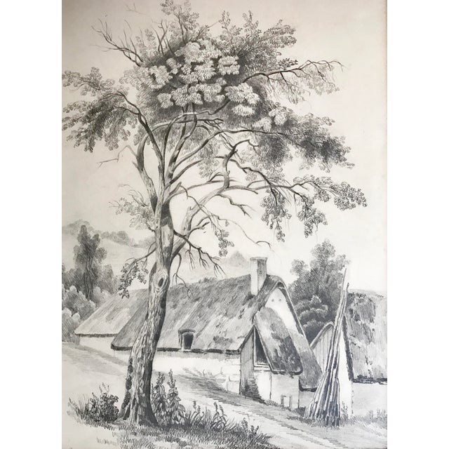 19th C French Cottage Landscape Drawing - Image 3 of 5