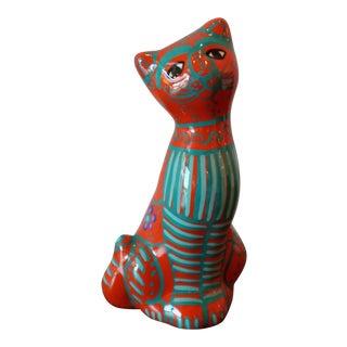 Vintage Ceramic Folk Art Cat Figurine