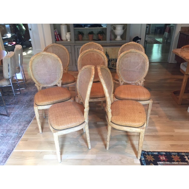 Faux Bois Dining Chairs - Set of 8 - Image 4 of 6