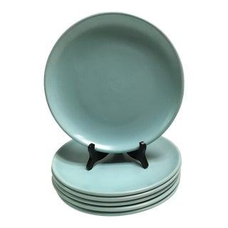Mid Century Aqua Pottery Plates - Set of 6