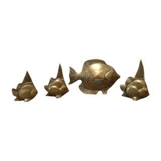 Mid-Century Brass Fish Sculptures - Set of 4