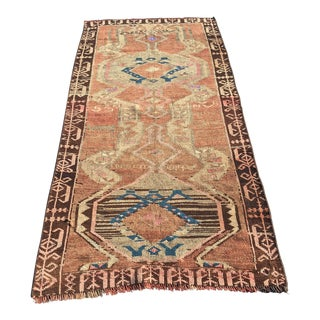 "Antique Turkish Oushak Short Runner - 3'4""x7'1"""