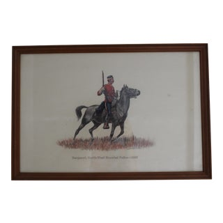 1885 Redcoat Riding on Horse Framed Artwork